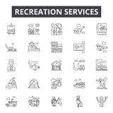 Erholung Hausanschlussleitung Ikonen, Zeichen, Vektorsatz, lineares Konzept, Entwurfsillustration stock abbildung