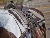 Erholung, Wyoming-Art--Pferd und Sattel lizenzfreies stockbild
