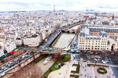 Аerial (panorama) from top cathedral Notre Dame on Paris. Royalty Free Stock Photos