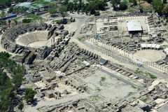 Aerial view of ancient Beit Shean in Israel Royalty Free Stock Images