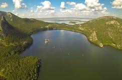 ?erial view of the a beautiful mountain lake Borovoe (Burabay), Kazakhstan Stock Photo