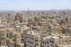 Erial view of the Sanaa city in Sanaa, Yemen. Royalty Free Stock Photo
