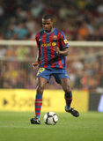 Eric Abidal. Futbol Club Barcelona player Eric Abidal during Spanish League match between Barcelona vs Sporting Gijon at the New Camp Stadium in Barcelona on Stock Photography