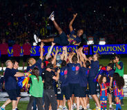 Eric Abidal en de spelers van FC Barcelona royalty-vrije stock foto's