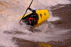 Eric Jackson at the Glenwood Wave. Multiple World Freestyle Kayak Champion Eric Jackson on the Colorado River wave at the US National Freestyle Kayak Royalty Free Stock Photos