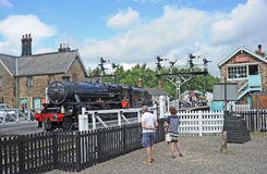 Eric Lacey leaves Grosmont station Stock Images