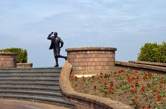 Eric Morecambe statue. Statue of deceased entertainer Eric Morecambe on promenade, Morecambe town, Lancashire, England Stock Images