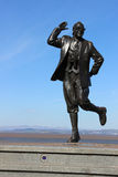 Eric Morecambe statue with Lake District behind Stock Photos
