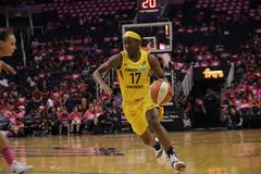 Erica Wheeler. Guard for the Indiana Fever at Talking Stick Resort Arena in Phoenix Arizona USA August 7,2018 royalty free stock photography