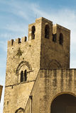 Erice castle. Exterior of Erice castle with blue sky and cloudscape background, Trapani, Sicily, Italy Royalty Free Stock Image
