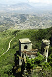 Erice castle. Aerial view of Erice castle on mountain with Erice town in background, Trapani, Sicily, Italy Stock Images