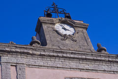 Erice clock. Clock Tower  cityhall of erice, in sicily Royalty Free Stock Photos
