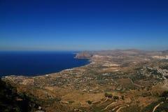 Erice (Sicília) - baía de Cornino do panorama (Sicília) Foto de Stock Royalty Free