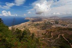 Erice, Trapani prowincja, Sicily, Włochy - Panoramiczny widok od Erice przy morza śródziemnomorskiego Tyrrhenian morzem drogą Eri Obraz Stock