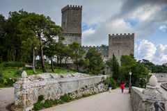 Erice Trapani, Sicilien, Italien - forntida stenVenus slott Royaltyfria Bilder