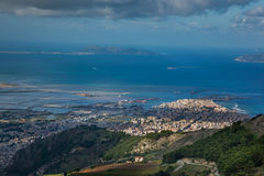 Erice Trapani, Sicilien, Italien - panoramautsikt Fotografering för Bildbyråer