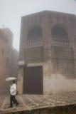 Erice Trapani, Sicilien, Italien - stad i dimman Royaltyfri Bild