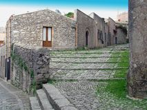 Erice view. Characteristic road in Erice, tp - sicily stock photo