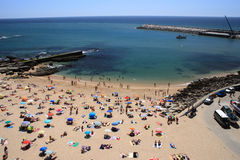 Ericeira beach. View from a belvedere over Ericeira Beach near the fishing port - Portugal Stock Image