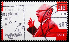Erich Ollenhauer, Birth Centenary of Erich Ollenhauer serie, circa 2001. MOSCOW, RUSSIA - FEBRUARY 21, 2019: A stamp printed in Germany, shows Erich Ollenhauer stock photo