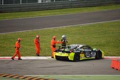 Erich Prinoth skadad Ferrari 458 utmaning Evo på Monza Fotografering för Bildbyråer