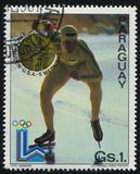 Erick Reiden speed skater at Winter Olympics. RUSSIA KALININGRAD, 19 APRIL 2017: stamp printed by Paraguay, shows Erick Reiden speed skater at Winter Olympics in Stock Photos