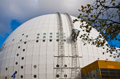Ericsson Globe in Stockholm. Architectural detail of the modern arena on a cloudy day in Stockholm Royalty Free Stock Photography