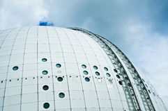 Ericsson Globe in Stockholm. Architectural detail of the modern arena on a cloudy day in Stockholm Stock Images