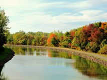 Erie Canal with Autumns Reflections Royalty Free Stock Photo