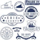 Erie County, PA, generiska stämplar och tecken Arkivfoton