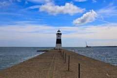 Erie Harbor North Pier Light on Lake Erie royalty free stock images