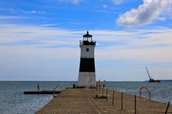 Erie Harbor North Pier Light on Lake Erie royalty free stock image