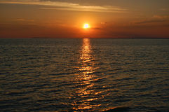 erie lake över solnedgång Royaltyfri Fotografi