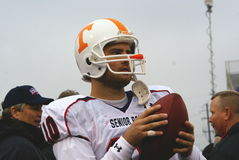 Erik Ainge. Practices throwing on the sideline at the 2008 Senior Bowl Gameday royalty free stock image