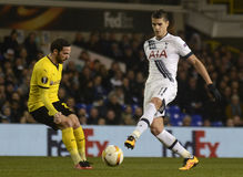 Erik Lamela. Football players pictured during UEFA Europa League round of 16 game between Tottenham Hotspur and Borussia Dortmund on March 17, 2016 at White Hart royalty free stock photo