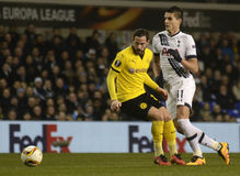 Erik Lamela. Football players pictured during UEFA Europa League round of 16 game between Tottenham Hotspur and Borussia Dortmund on March 17, 2016 at White Hart royalty free stock photos