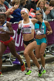 Erika Olivera and Maria Peralta - Olympic Marathon. Chilean athlete Erika Olivera and Argentine Maria Peralta in St Pauls Churchyard for the 2nd time during the Royalty Free Stock Image