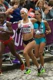 Erika Olivera y Maria Peralta - maratón olímpico Imagen de archivo libre de regalías