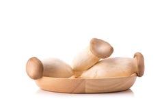 Eringi plocka svamp på träbolw Royaltyfri Bild