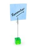 Erinnern Sie sich an Text auf Blue Noten-Papier stockfoto