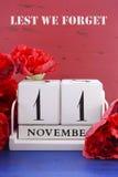 Erinnern Sie sich, Waffenstillstand und Veteranen-Tageskalender Lizenzfreies Stockfoto