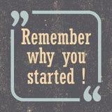 Erinnern Sie sich, an warum Sie begannen Inspirierend Motivphrase Auch im corel abgehobenen Betrag stock abbildung