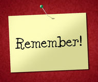 Erinnern Sie sich Zeichen-Shows zu beachten und an Tagesordnung Stockbild