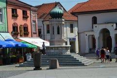 Erinnerungs-fountaine der quadratischen Freiheit in Tuzla Lizenzfreie Stockfotos