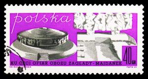 Erinnerungs, Majdanek-Konzentrationslager, Enthüllung eines Monuments zu den Opfern des Majdanek Conceserie, circa 1969 lizenzfreie abbildung
