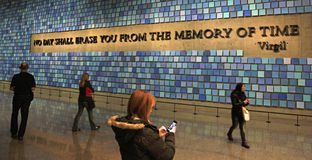 9/11 Erinnerungsmuseum, Memorial Hall am Bodennullpunkt, WTC Stockfotografie