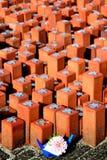 Erinnerungssteine im holländischen Lager Westerbork Lizenzfreies Stockfoto