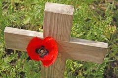 Erinnerungstag eine Mohnblume und ein hölzernes Kreuz lizenzfreie stockfotografie