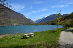 Eriste lake a morning in april. Stock Photo