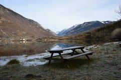 Eriste Lake one morning in december Stock Photos